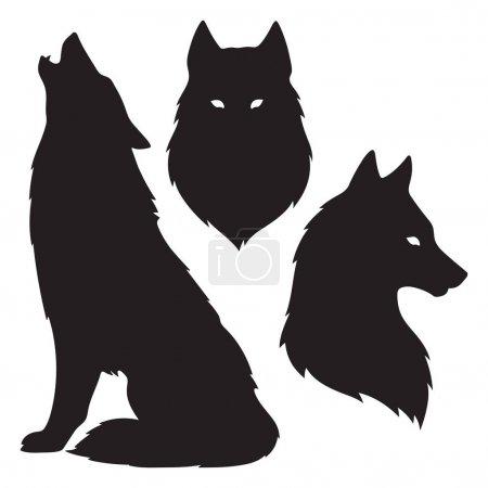 Illustration pour Ensemble de silhouettes de loups isolées. Autocollant, illustration vectorielle de conception d'impression ou de tatouage. Totem païen, art spirituel familier wiccan . - image libre de droit