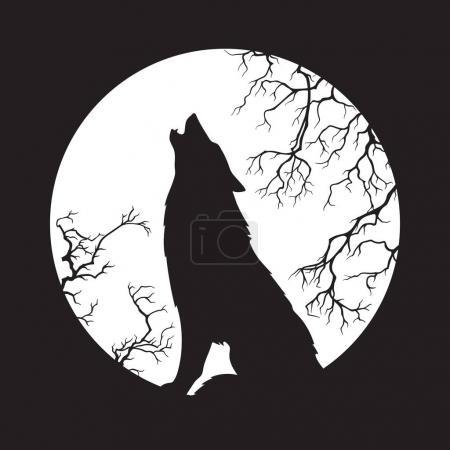 Illustration pour Silhouette de loup hurlant à l'illustration vectorielle de la pleine lune. Totem païen, art spirituel familier wiccan . - image libre de droit
