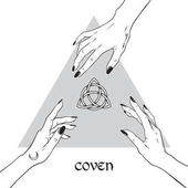 Hands of three witches reaching out to the pagan symbol triquetra Coven is a gathering of witches Black work flash tattoo or print design hand drawn vector illustration