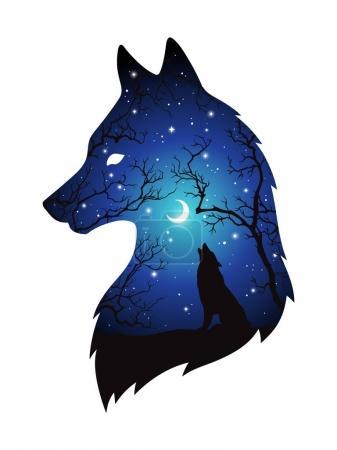 Illustration pour Double exposition silhouette de loup dans la forêt nocturne, ciel bleu avec croissant de lune et étoiles isolées. Autocollant, illustration vectorielle de conception d'impression ou de tatouage. Totem païen, art spirituel familier wiccan . - image libre de droit