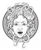 Medusa Gorgon head on a shield hand drawn line art and dot work tattoo or print design isolated vector illustration Gorgoneion is a protective amulet