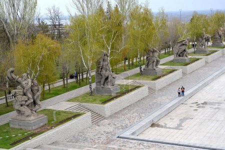VOLGOGRAD, RUSSIA - APRIL 23, 2017: Heroes Square, top view. Mamayev Kurgan