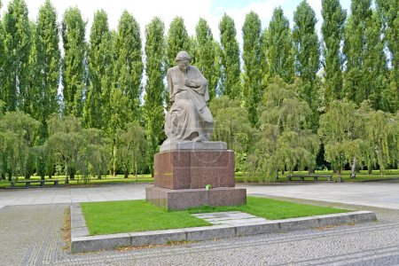 BERLIN, GERMANY - AUGUST 13, 2017: A statue the Grieving mother in Treptov-park