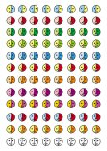 Collection of 8 icons of emoticons in 12 color scales 96 smileys for every taste and color