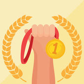 Hand holding golden medal icon