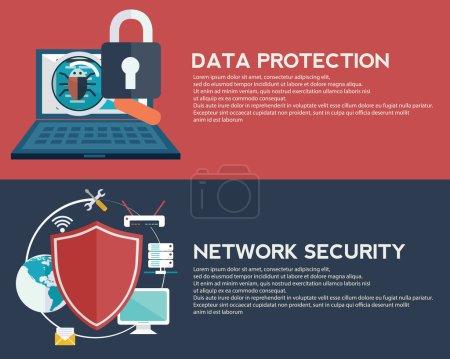 Illustration pour Protection des données et bannières de sécurité réseau, illustration vectorielle - image libre de droit
