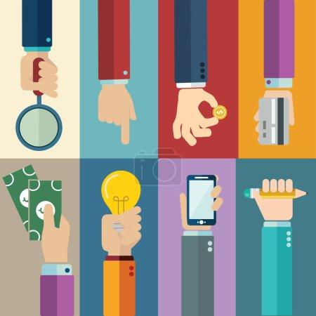 Illustration pour Mains icônes ensemble, illustration vectorielle - image libre de droit
