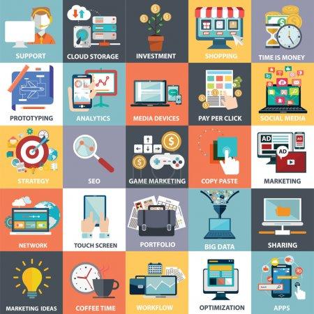 Illustration for Universal icons set, vector illustraion - Royalty Free Image