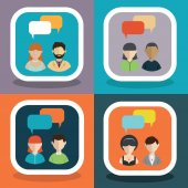 People icons with dialog bubbles vector illustration