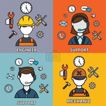 Illustration pour Icônes d'ingénierie, de mécanique et de support, illustration vectorielle - image libre de droit