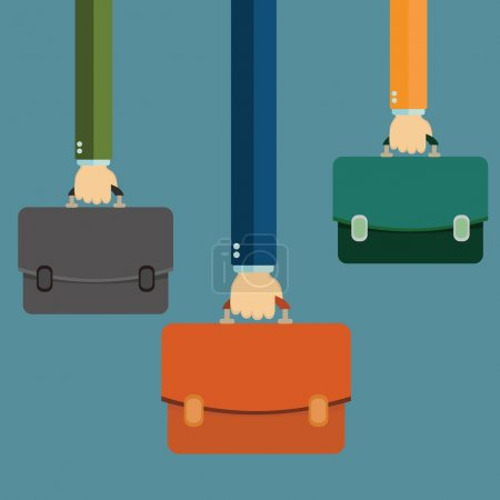 Illustration for Hands holding briefcases, vector illustration - Royalty Free Image
