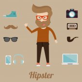 Hipster character icons
