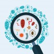 Magnifier glass with bacterias, vector illustratio...