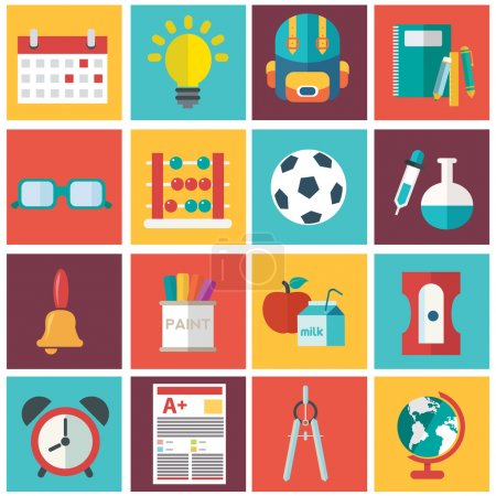Illustration for School icons set, vector illustration - Royalty Free Image