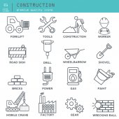 Construction thin line icons vector illustration