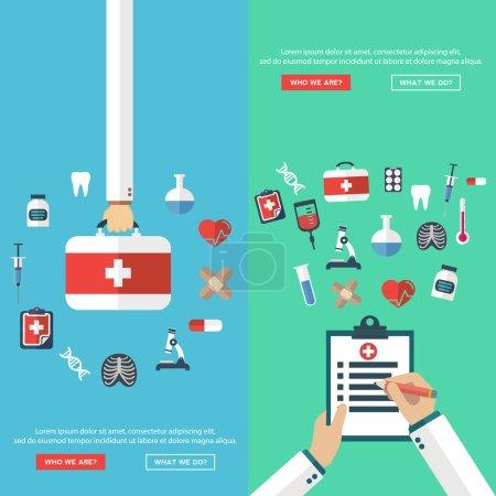 Illustration for Medical banners set, vector illustation - Royalty Free Image