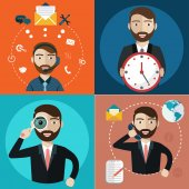 Support seo marketing time banners vector illustation