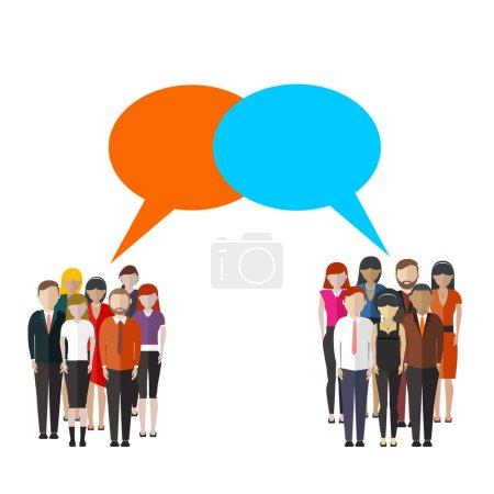 Illustration pour Sondage d'opinion illustration plate de deux groupes de personnes et bulles d'expression entre eux . - image libre de droit