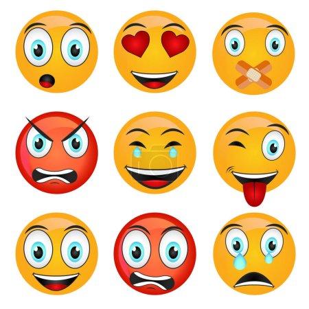 Illustration for Set of Emoticons icons, Set of Emoji isolated vector illustration on white background - Royalty Free Image