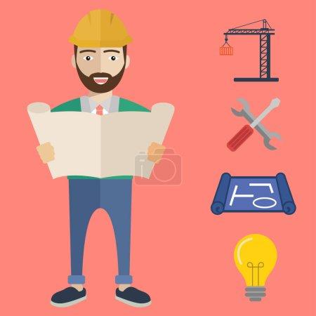 Engineer worker with blueprint