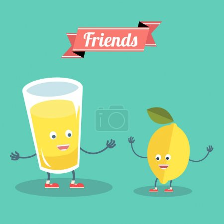Illustration for Funny lemon with glass of lemonade friends forever. Vector illustration. - Royalty Free Image