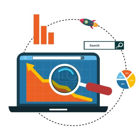 Illustration pour Conception de plat illustration web analytique, Optimisation Seo. - image libre de droit
