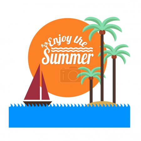 Illustration for Vector illustration design ofTropical Island with palms and Ship in ocean - Royalty Free Image
