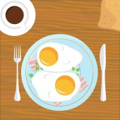 Vector illustration design of Breakfast Eggs and Bacon with coffee and toast