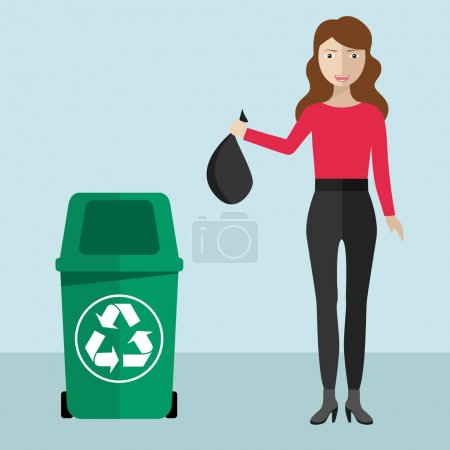 Illustration for Woman throwing trash in recycle selective bin, waste concept design. - Royalty Free Image