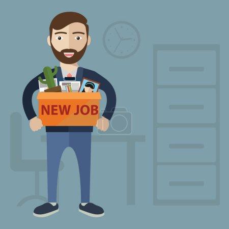 Illustration pour Succès souriant jeune homme d'affaires tenant une boîte avec ses affaires avec inscription Nouveau travail. Bienvenue dans le nouveau concept d'entreprise vecteur d'emploi. Début et heure d'une nouvelle illustration d'emploi - image libre de droit