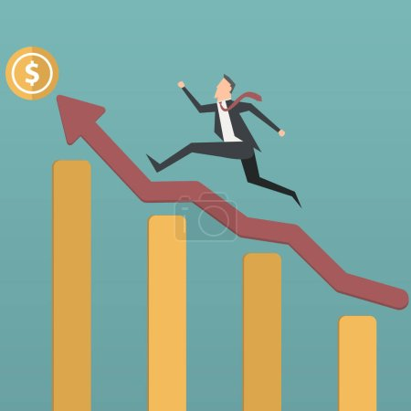 Illustration for Successful businessman climbing up growing chart. vector - Royalty Free Image