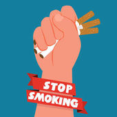 Cigarettes in fist hand giving up smoking stop smoking concept - vector illustration