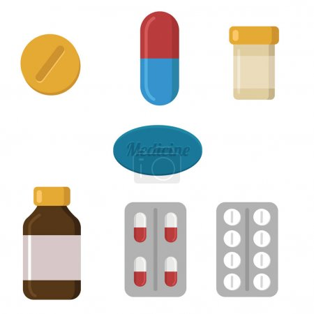 Pills and capsules icons