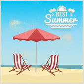 Summer beach in flat design sea side and beach items vintage design vector illustration