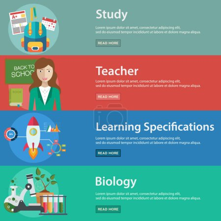 Illustration for Education and Science vector illustration banner set - Royalty Free Image