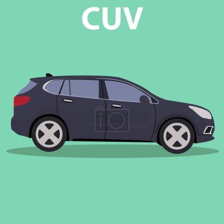 Illustration pour Crossover CUV de voiture, conception de type de transport . - image libre de droit