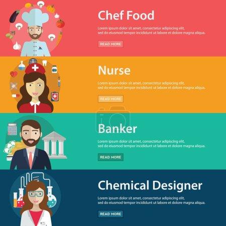 Photo pour Ensemble de bannières pour professions humaines, illustration vectorielle - image libre de droit