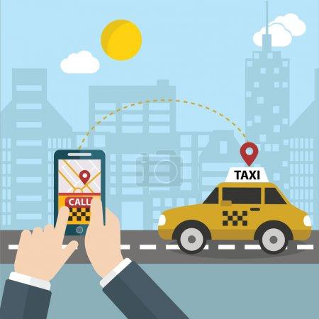 Illustration pour Réservation de taxi mobile, illustration vectorielle - image libre de droit