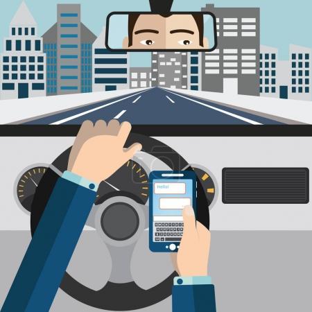 Illustration pour Utilisation du téléphone portable en conduisant illustration vectorielle . - image libre de droit