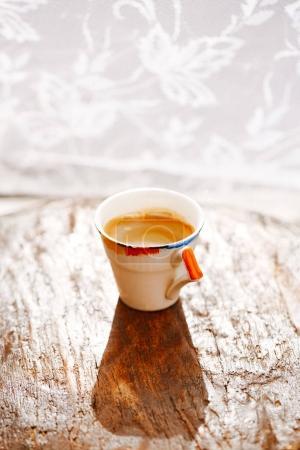 espresso coffee in retro cup