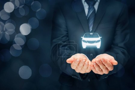 Photo for Car insurance and collision damage waiver concepts. Insurer with protective gesture and icon of car. Right wide banner composition with bokeh in background. - Royalty Free Image