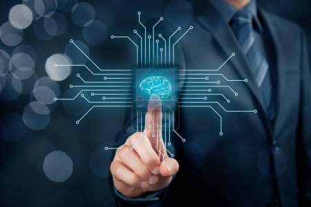 Photo pour Intelligence artificielle, l'exploration de données, logiciel système expert, programmation génétique, apprentissage automatique, réseaux neuronaux, nanotechnologies et un autre des concepts de technologies modernes. Bonne composition. - image libre de droit