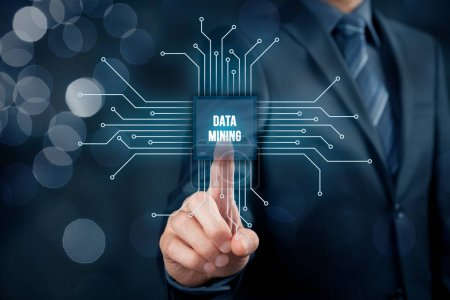 Photo pour Data mining (data-minig) concept. Symbole abstrait d'une puce avec exploration de données textuelles connectée avec des données représentées par des points . - image libre de droit
