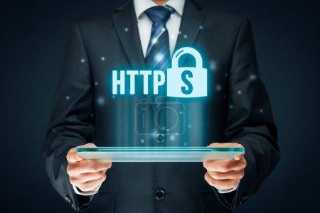 HTTPS - secured internet concept.
