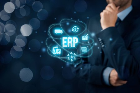 Photo for Enterprise resource planning ERP concept. Businessman think about ERP business management software for collect, store, manage and interpret business data about customers, HR, production, logistics, financials and marketing. - Royalty Free Image