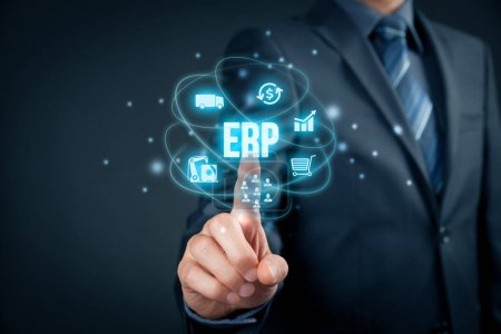 Photo for Enterprise resource planning ERP concept. Businessman click on ERP business management software button for collect, store, manage and interpret business data about customers, HR, production, logistics, financials and marketing. - Royalty Free Image