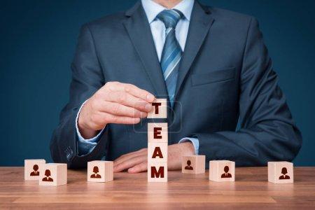 """Photo pour Ressources humaines, composition de l """"équipe, configuration de l"""" équipe, travail d """"équipe, concepts de coopération et de team building . - image libre de droit"""