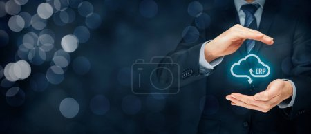 Photo for Enterprise resource planning ERP as cloud service concept. Businessman offer ERP business management software as cloud computing service. - Royalty Free Image