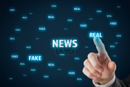 Fake versus real news concept