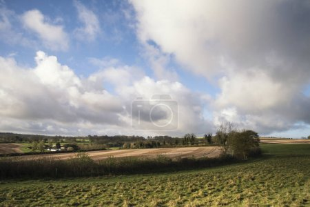 Photo for Beautiful agricultural English countryside landscape during early Spring morning - Royalty Free Image